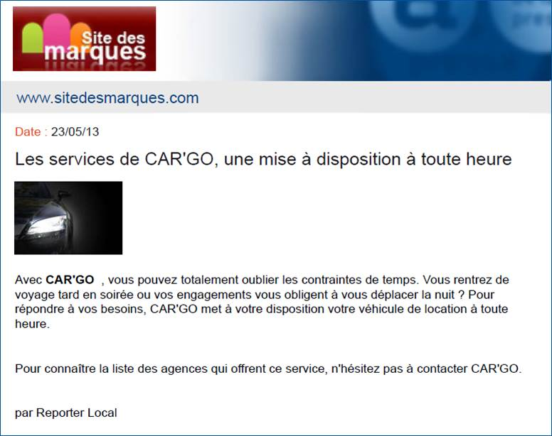 Article SiteDesMarques.com